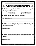 Common Core Scholastic News and Weekly Reader Comprehension
