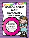 Common Core Second Grade Math Homework-2nd Quarter