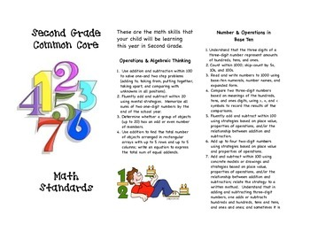 Common Core Second Grade Math Parent Brochure