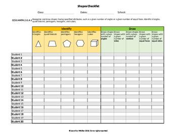 Common Core Shapes Checklist Assessment