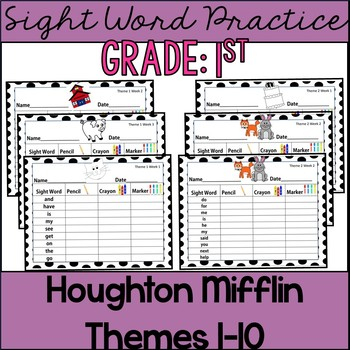 Common Core: Sight Word Practice Houghton Mifflin Themes 1-10