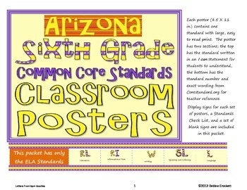 Common Core Sixth Grade Posters (I can . . .) Arizona ELA