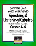 Common Core Speaking & Listening Rubrics Bundle Grades 6-8
