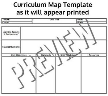 Common Core Standards Aligned Curriculum Map Templates Any