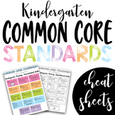 Common Core Standards Cheat Sheets - Kindergarten BUNDLE