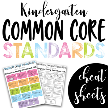 Common Core Standards Cheat Sheets - Kindergarten BUNDLE