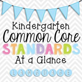 Common Core Standards Cheat Sheets - Kindergarten Language