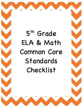 Common Core Standards Checklist:  5th Grade ELA and Math