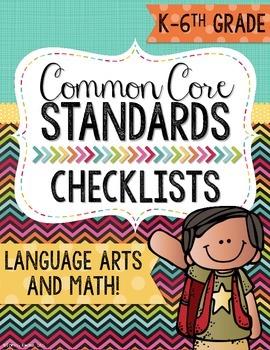 Common Core Standards Checklists Grades Kindergarten-6th.