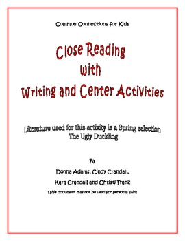 Common Core Standards Close Reading and Writing Activities