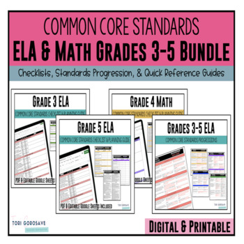 Grades 3, 4, & 5 ELA & Math Common Core Checklists