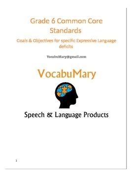 Common Core Standards Goals & Objectives for Vocabulary De