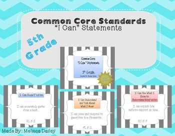 """Common Core Standards/ """"I Can"""" Statements - Fifth Grade"""