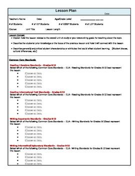 Common Core Standards Lesson Plan Template for ELA Grades