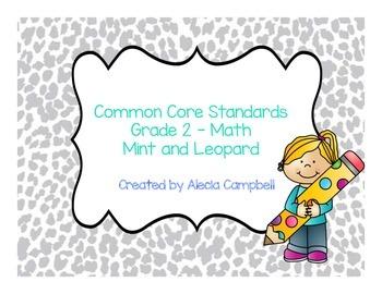 Common Core Standards Math Grade 2 Mint Gray Leopard Print
