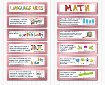 Common Core Standards Math & Language Arts 2nd Grade-Red Gingham