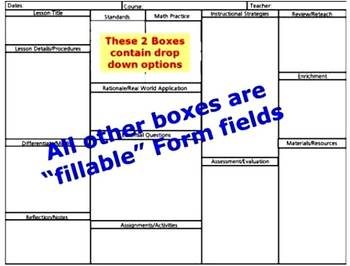 Common Core Standards Math Lesson Plan Template with drop