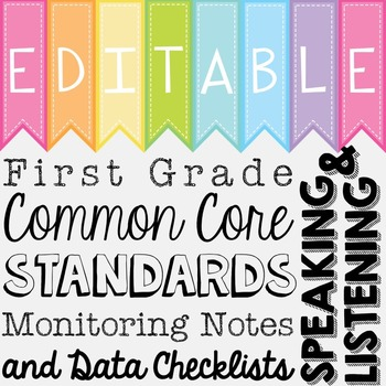 Common Core Standards Monitoring Notes - First Grade Speak