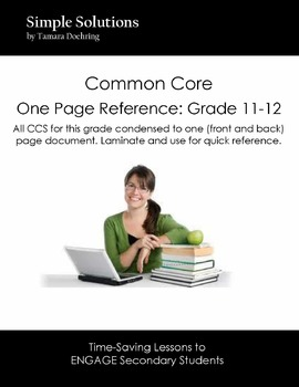 Common Core Standards One Pager Grade 11-12 ELA