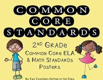 Common Core Standards Poster & Cards for 2nd Grade ELA & M