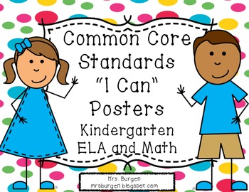 Common Core Standards Posters ELA and Math Dotty Kids for