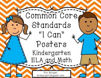 Common Core Standards Posters ELA and Math Orange Chevron Kids
