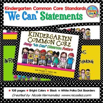 I Can Statements KINDERGARTEN Common Core Standards Bright