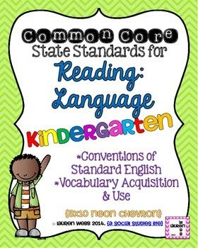 Kindergarten Reading Language Common Core Standards Posters