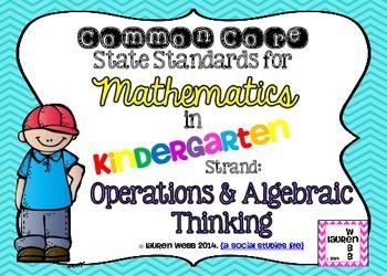 Kindergarten Math Common Core Standards Posters (Landscape