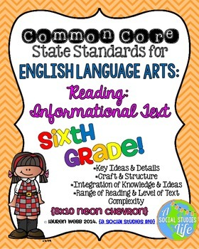 6th grade ELA Reading Informational Text Common Core Stand