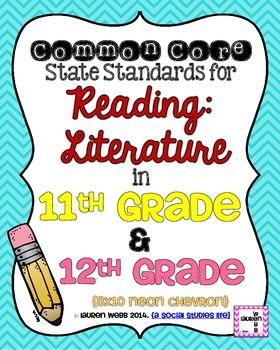 11th and 12th grade Reading Literature Common Core Standar