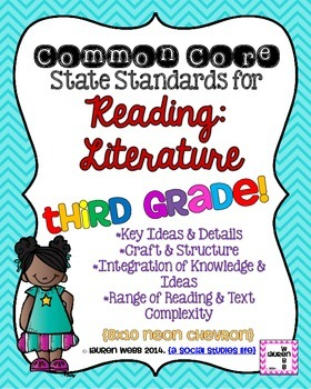 3rd grade Reading Literature Common Core Standards Posters