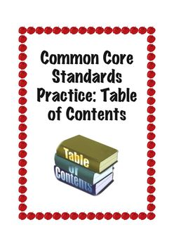 Common Core Standard RI.1.5: Table of Contents