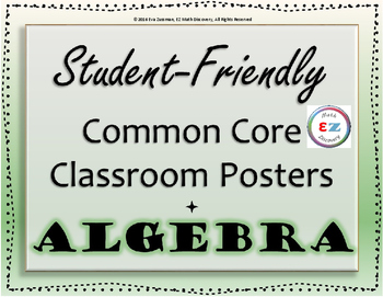 Common Core Standards for Algebra - Student-Friendly Langu