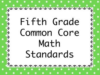 Common Core Standards for Fifth Grade Math