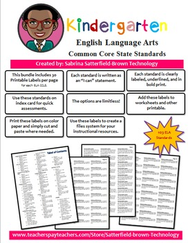 Common Core State Standard: Kindergarten ELA Printable Lab