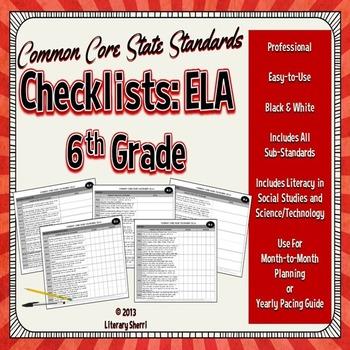 Common Core State Standards Checklist: 6th Grade ELA (Blac