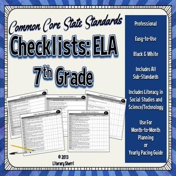 Common Core State Standards Checklist: 7th Grade ELA (Blac