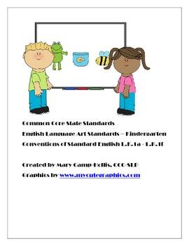 Common Core State Standards Language Arts Kindergarten for