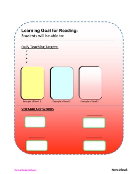 Common Core Target Wall Template