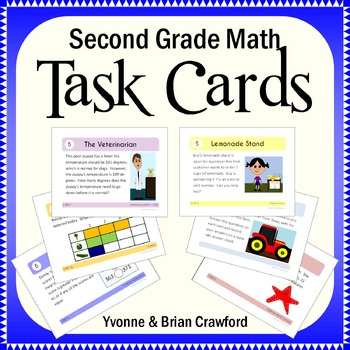 Math Task Cards Second Grade Math Common Core - All Math S