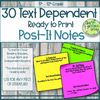Text-Dependent Questions-30 Printable Post-It Notes for Li