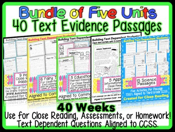 Common Core Text Evidence Passages for Assessments, Homewo