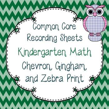 Common Core Tracking Sheets Kindergarten Math Chevron, Gin
