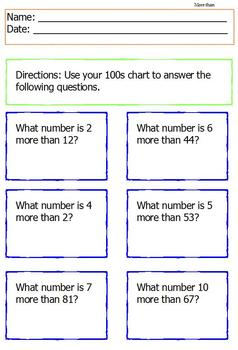 Common Core: Understanding 100s Chart Packet; Fill in the