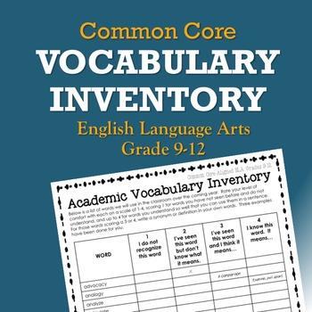 Common Core Vocabulary Inventory ELA Grades 9-12 (Pre- and