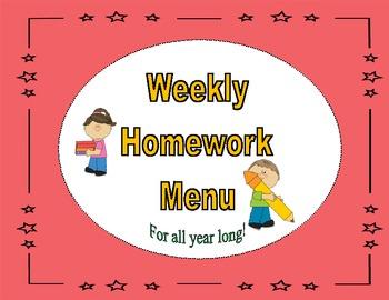 Common Core: Weekly Homework Menu's (Plaid Theme)