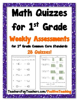 Weekly Math Quizzes - Standards based Quiz - 1st Grade