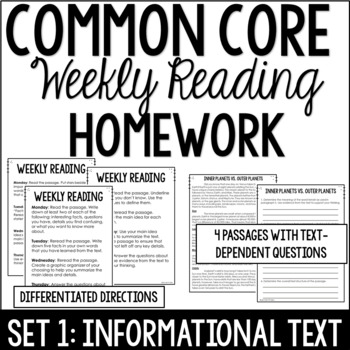 Common Core Weekly Reading Homework Review {Set 1: Informa
