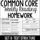 Common Core Weekly Reading Homework Review {Set 8: Text St